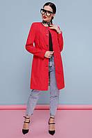 Элегантный женский короткий ярко-красный демисезонный плащ до колен с поясом Плащ 329