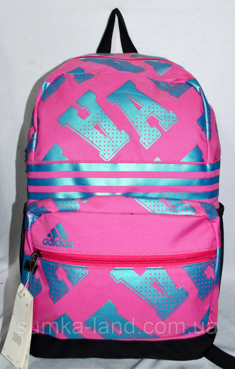 43192d6df2b8 Женский спортивный рюкзак Adidas с узором 30*45 см (черный с розовым ...