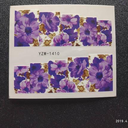 """Наклейка на ногти, наклейка для ногтей, ногтевой дизайн """"цветы"""" 10 шт набор, фото 2"""