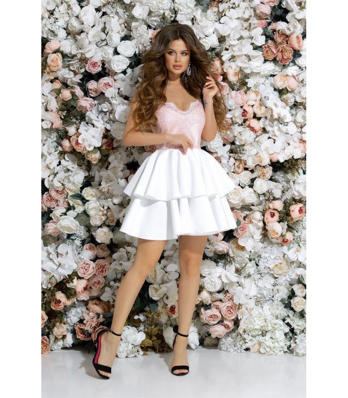 5329e2dc661d244 Короткое вечернее платье с пышной юбкой 42-46 размера пудровое - Интернет -