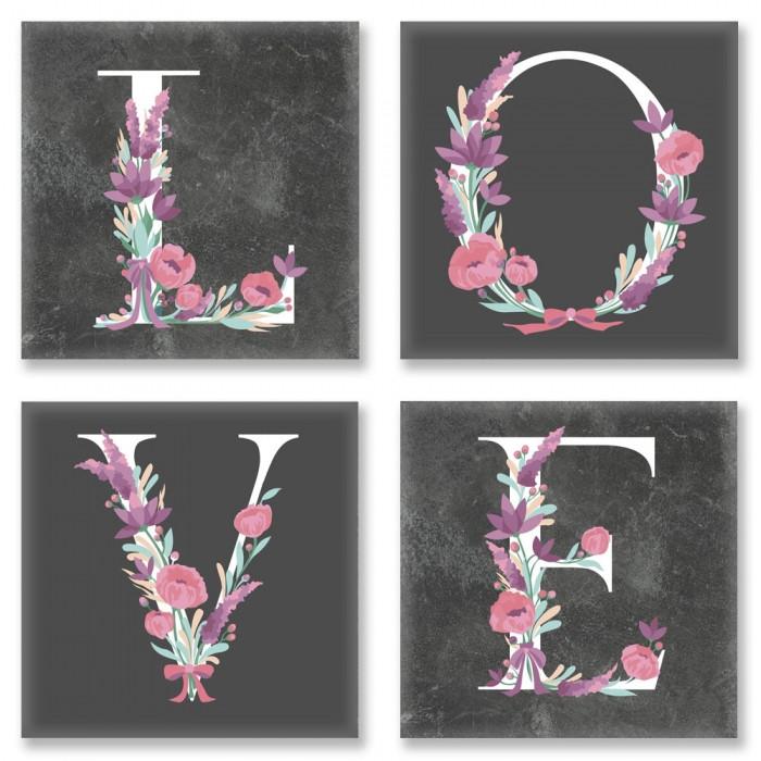Живопись по номерам Квартет Слово LOVE Лофт CH103 Идейка 4 шт. по 18 х 18 см