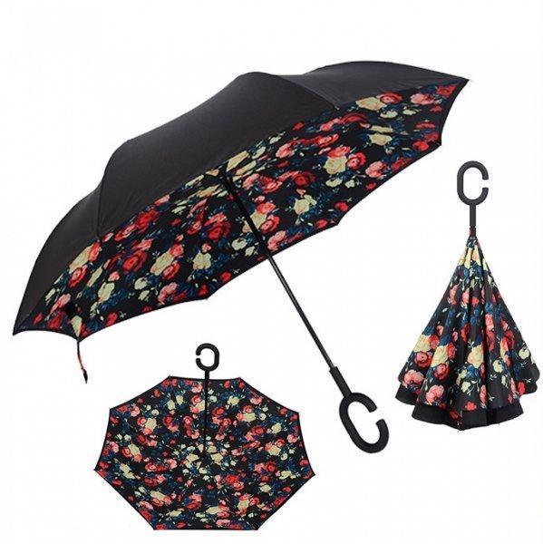 Зонт наоборот обратного сложения up-brella розы на черном