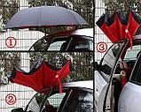 Зонт наоборот обратного сложения up-brella розы на черном, фото 3
