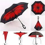 Зонт наоборот обратного сложения up-brella розы на черном, фото 4
