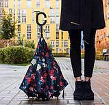 Зонт наоборот обратного сложения up-brella розы на черном, фото 6