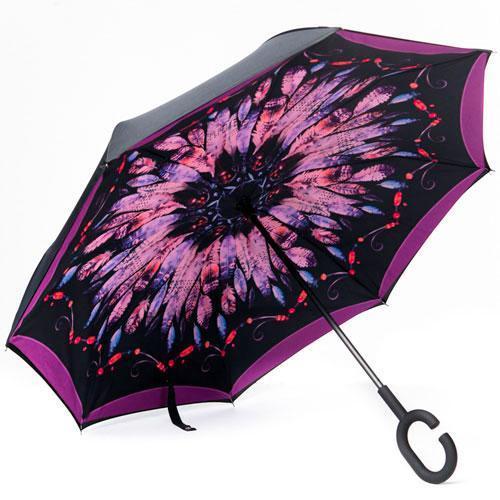 Зонт наоборот «Перья» + подарок