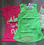 Летний комплект на девочку футболка и майка сетка размеры 4 - 12 лет. S&D KK-G003, фото 2