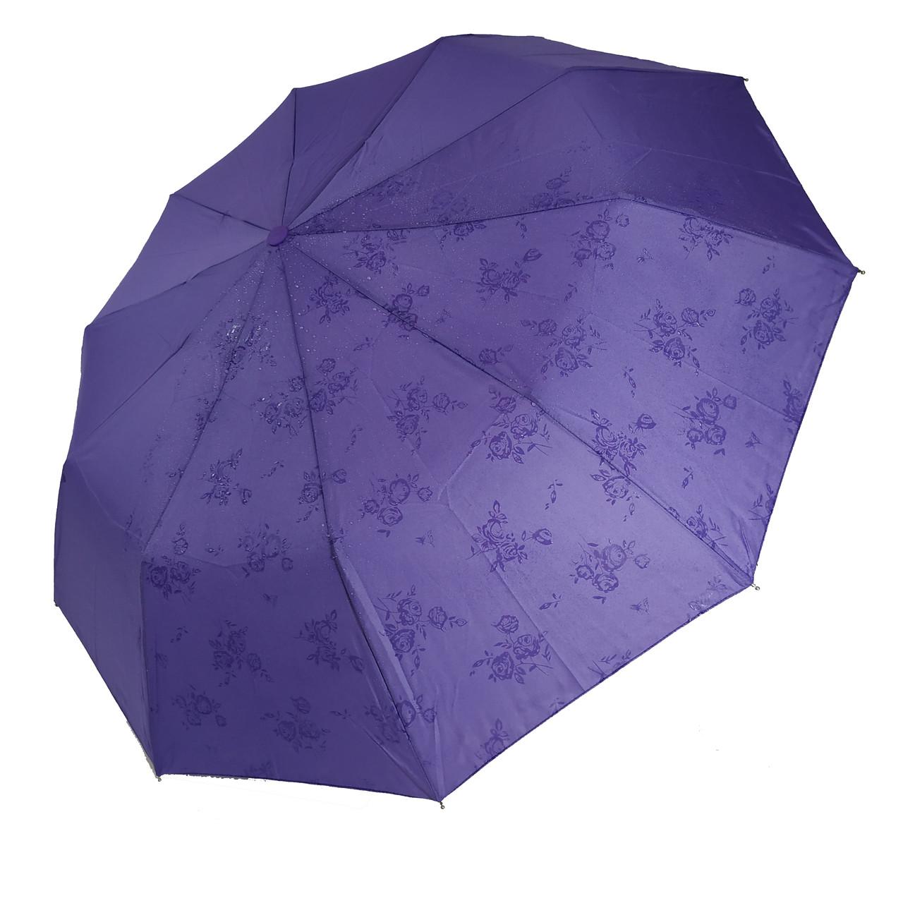 """Жіночий парасольку-напівавтомат на 10 спиць Bellisimo """"Flower land"""", проявлення, бузковий колір, 461-7"""