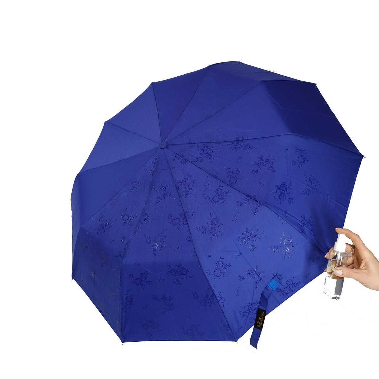 "Женский зонт-полуавтомат на 10 спиц Bellisimo ""Flower land"", проявка,синий цвет, 461-10"
