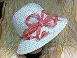 Шляпа из белой молочной и бежевой рисовой соломки с большими полями 10 см, фото 2