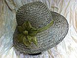 Шляпа из белой молочной и бежевой рисовой соломки с большими полями 10 см, фото 6