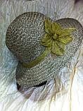 Шляпа из белой молочной и бежевой рисовой соломки с большими полями 10 см, фото 8