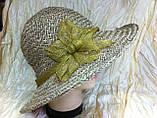 Шляпа из белой молочной и бежевой рисовой соломки с большими полями 10 см, фото 7