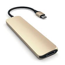 Satechi Slim Aluminum Type-C Multi-Port Adapter Gold (ST-CMAG), фото 3