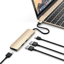 Satechi Slim Aluminum Type-C Multi-Port Adapter Gold (ST-CMAG), фото 2
