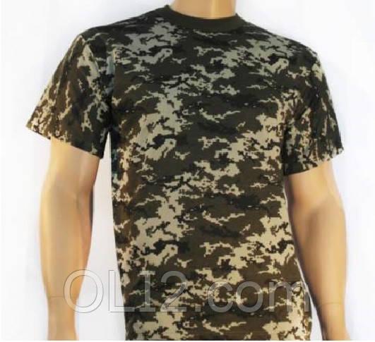 Мужская футболка хаки  камуфляж пиксель милитари  46 Хаки