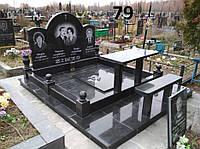 Ексклюзивний сімейний пам'ятник на кладовище, огорожа, лавка, столик із граніту