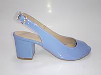 Женские лаковые босоножки голубого цвета ТМ Ross, фото 1
