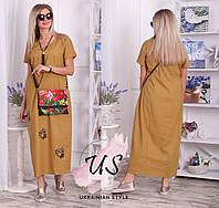 Летнее льняное платье в пол больших размеров. 3 цвета., фото 1