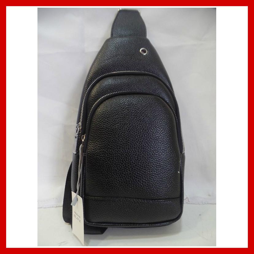 Мужская сумка через плечо бананка 3604 черная