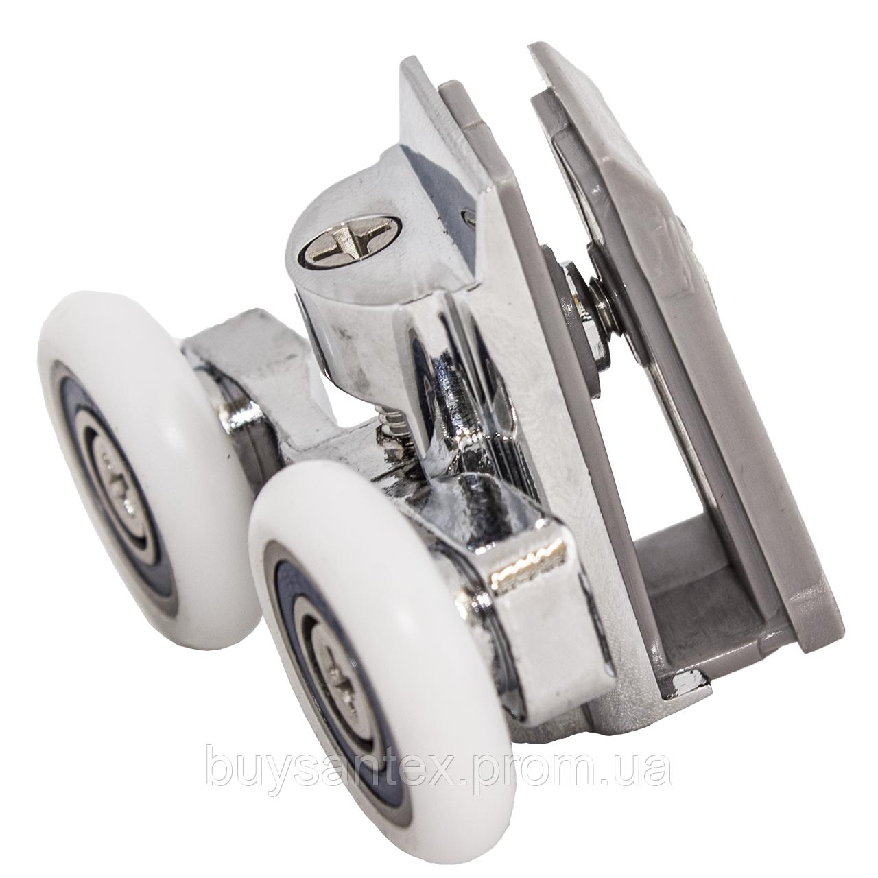 Ролик душевых кабин, гидробоксов - металлический, двойной, поворотный, нажимной  (CKLK61B)28 мм