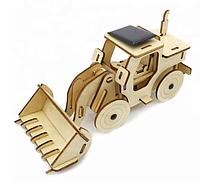 Деревянный детский конструктор 3D пазл головоломка Трактор на солнечной панели