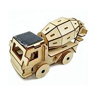 Деревянный конструктор 3D пазл головоломка Бетоновоз на солнечной панели