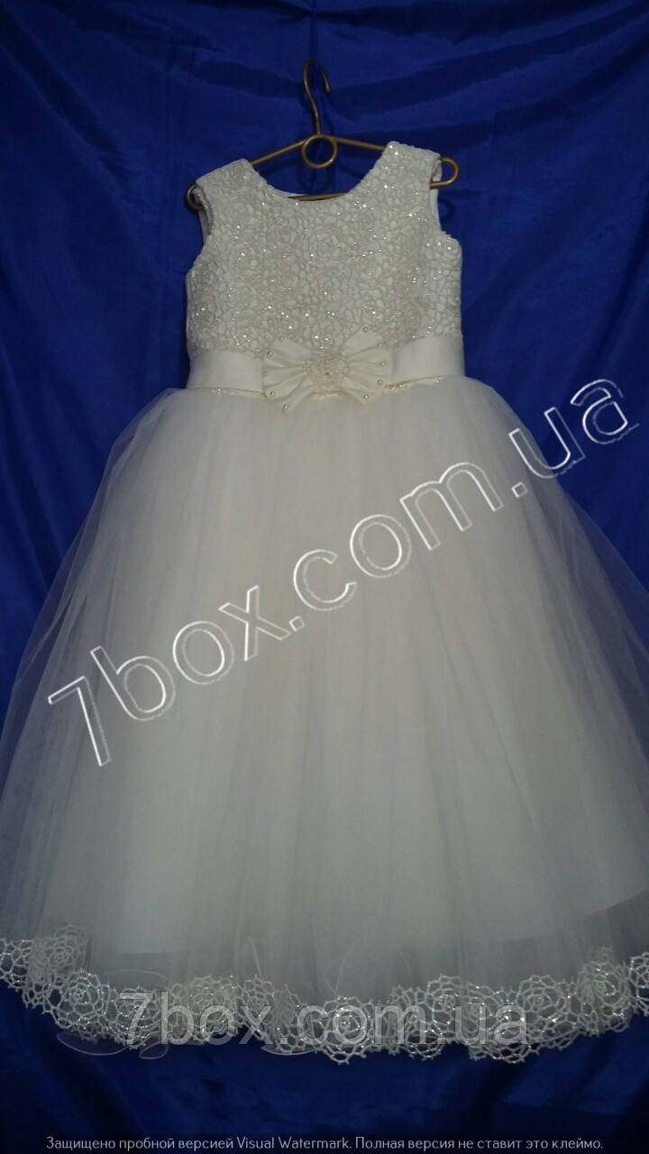 Детское нарядное платье бальное Ариэль1  6-8 лет. Белое