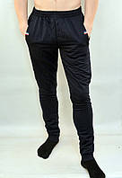 Брюки спортивные мужские трикотажные под манжет с молниями на карманах Синий, L