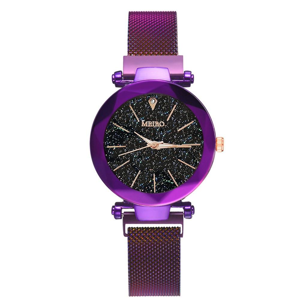 """Жіночі наручні годинники на магнітній застібці """"Meibo"""" (фіолетовий ремінець)"""