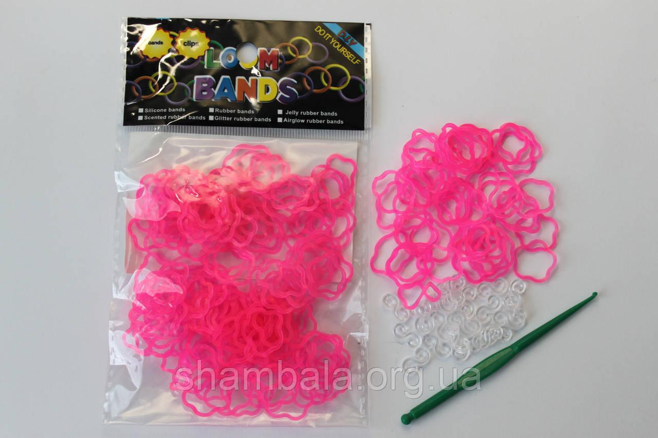 100 штук  в виде цветка розовых резиночек для плетения Loom Bands