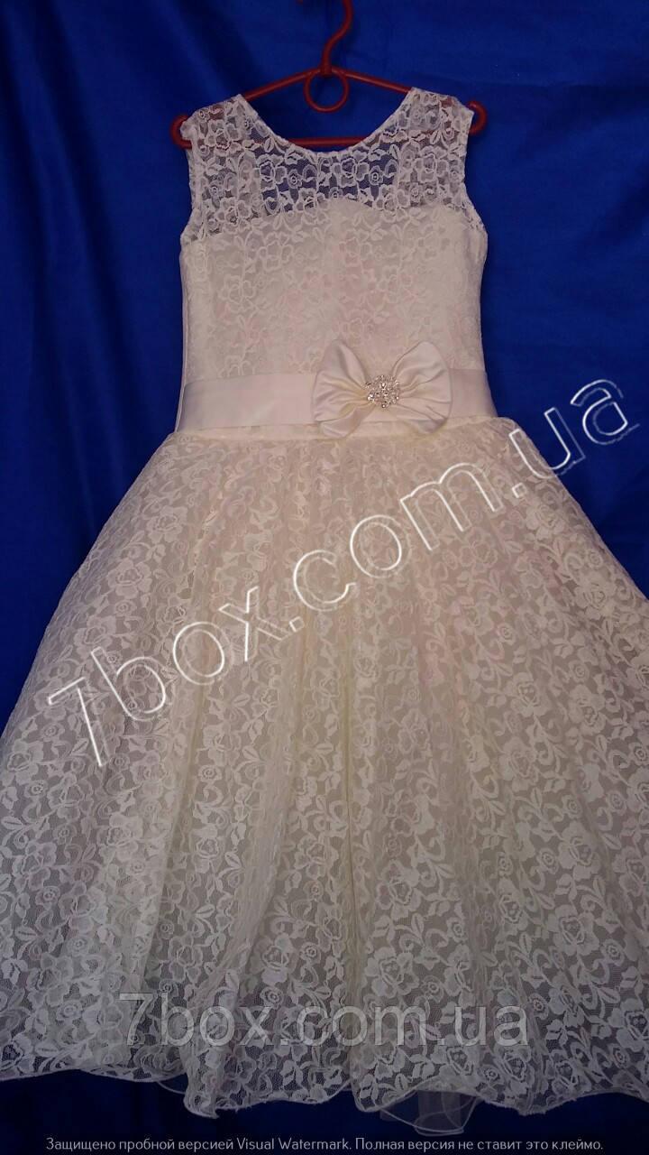 Детское нарядное платье бальное Красотуля-1 (молочное) 7-8 лет. Гипюровое Опт и Розница