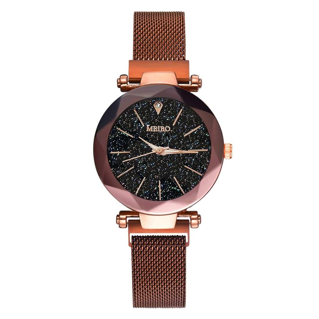 """Женские наручные часы на магнитной застежке """"Meibo"""" (коричневый ремешок)"""