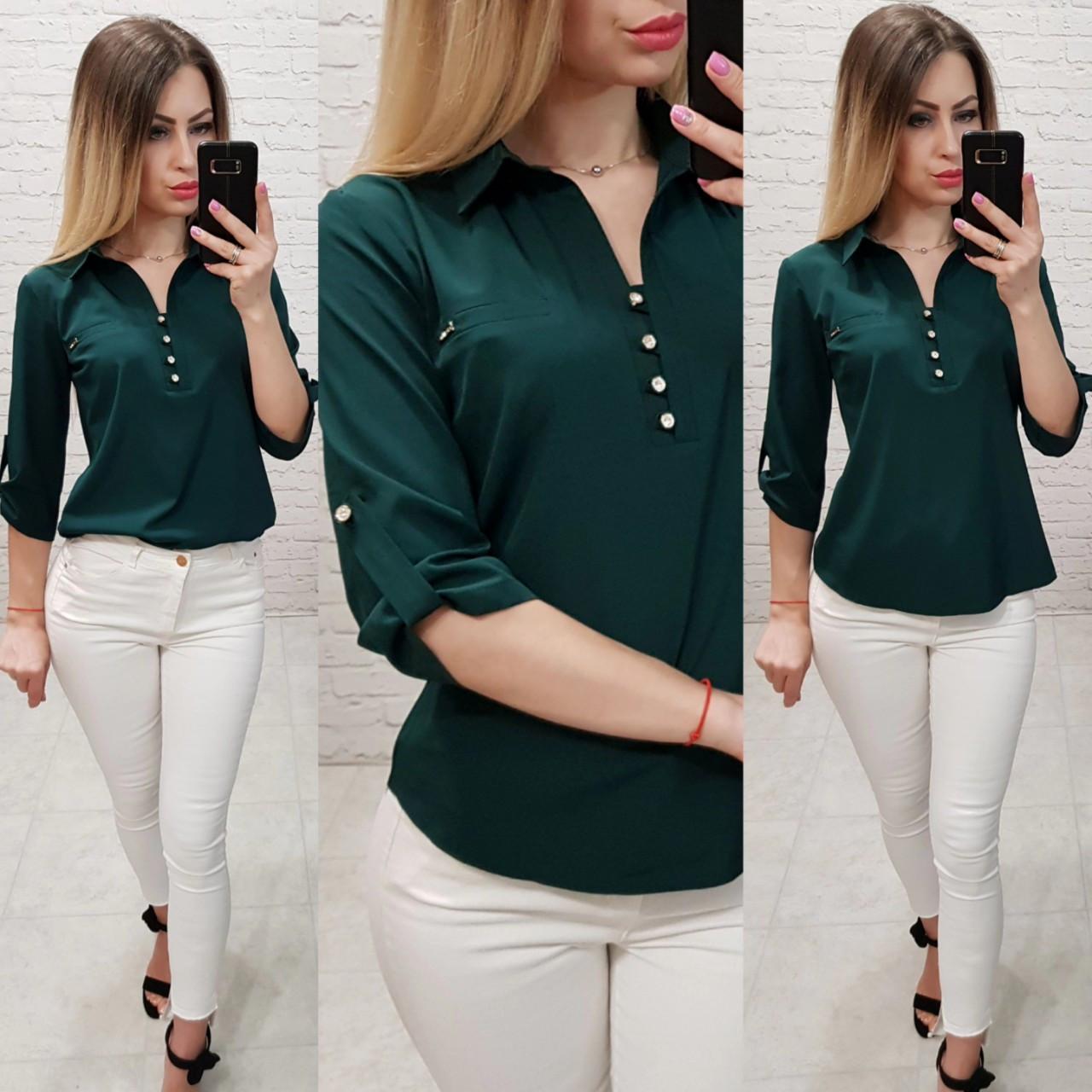 Рубашка / блуза / блузка арт. 828 темно зелёного /  зелёный