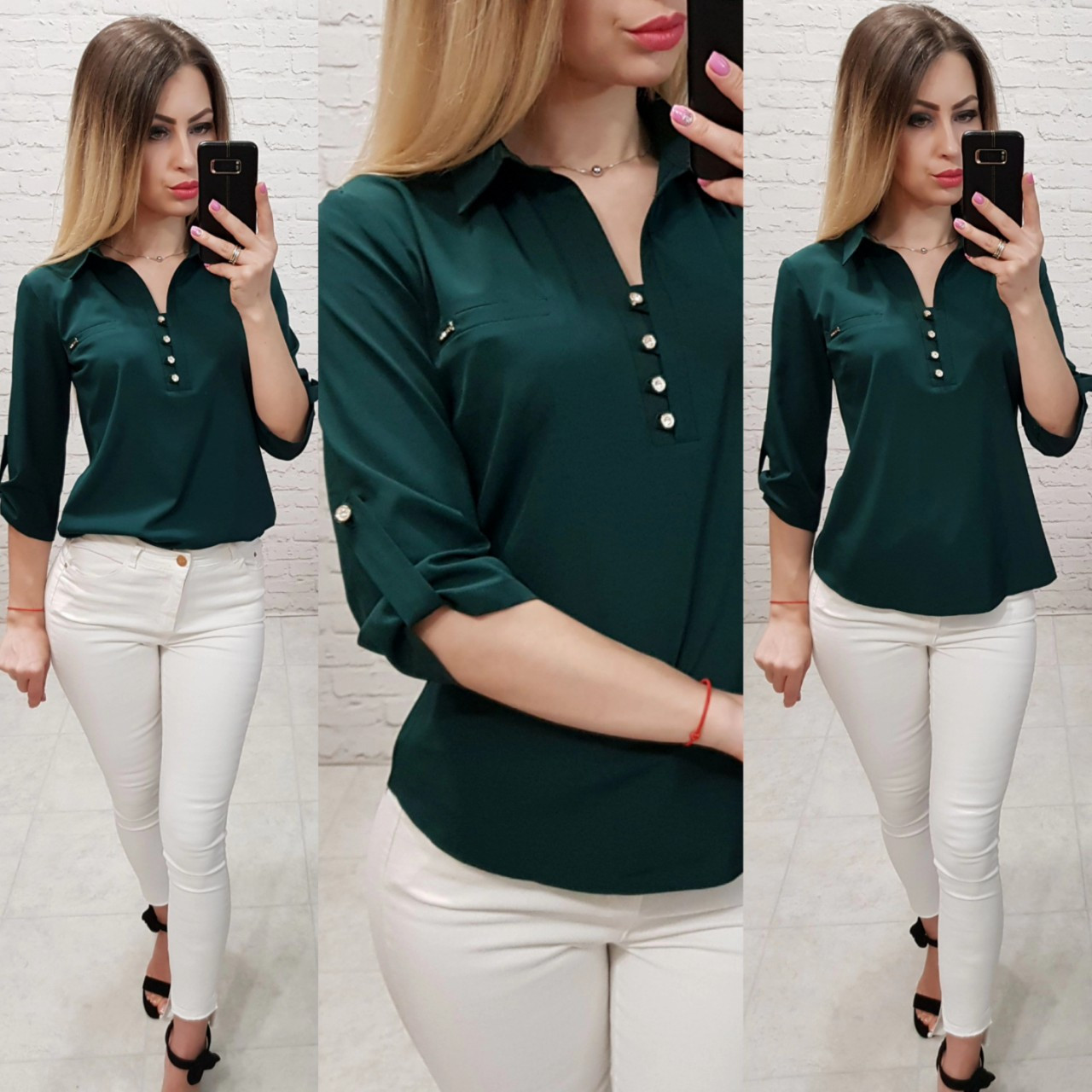 c236ee2a071 Рубашка   блуза   блузка арт. 828 темно зелёного   зелёный - Интернет  магазин женской