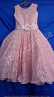 Детское нарядное платье бальное Красотуля-1,  Пудра 7-8 лет. Гипюровое