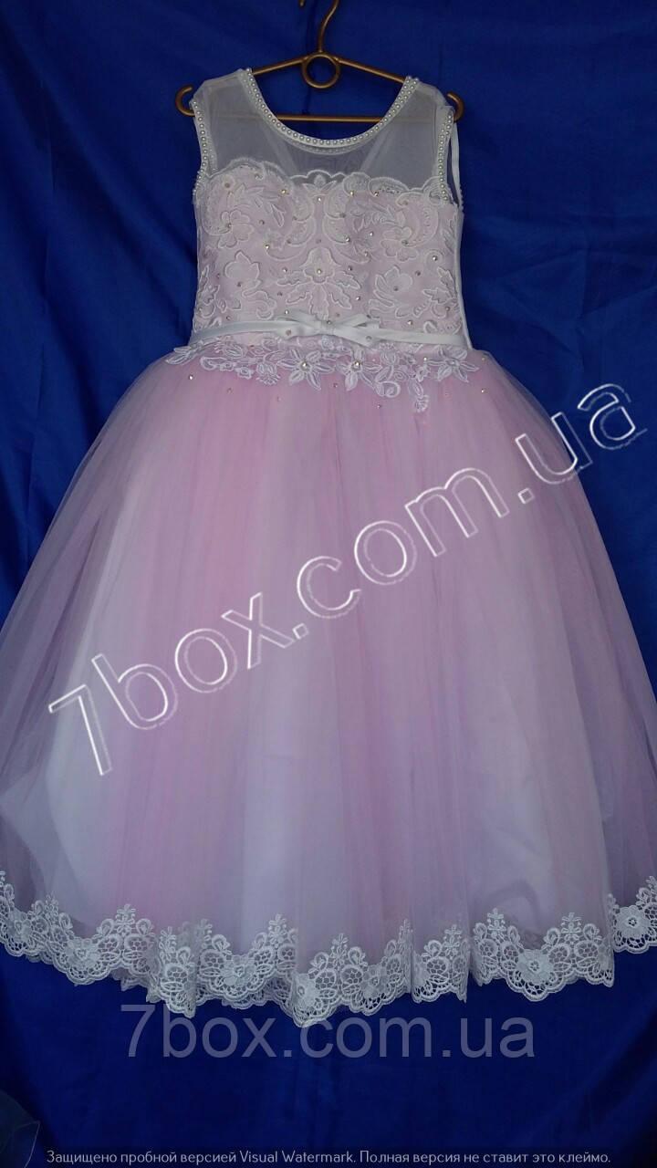 Детское нарядное платье бальное Упоение  6-7 лет. Розовое