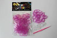100 штук в виде цветка фиолетовых резиночек для плетения Loom Bands