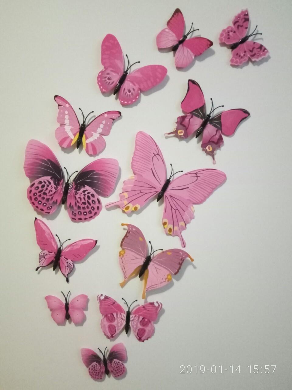 (12 шт) Набор бабочек 3D на магните РОЗОВЫЕ