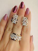 Набор серебряных украшений - ажурные кольцо и серьги