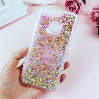 "Чехол Glitter для Huawei Y7 2018 / Y7 Prime 2018 (5.99"") бампер звезды Розовый"