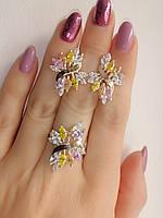 Серебряные украшения - кольцо и серьги с цветными камнями