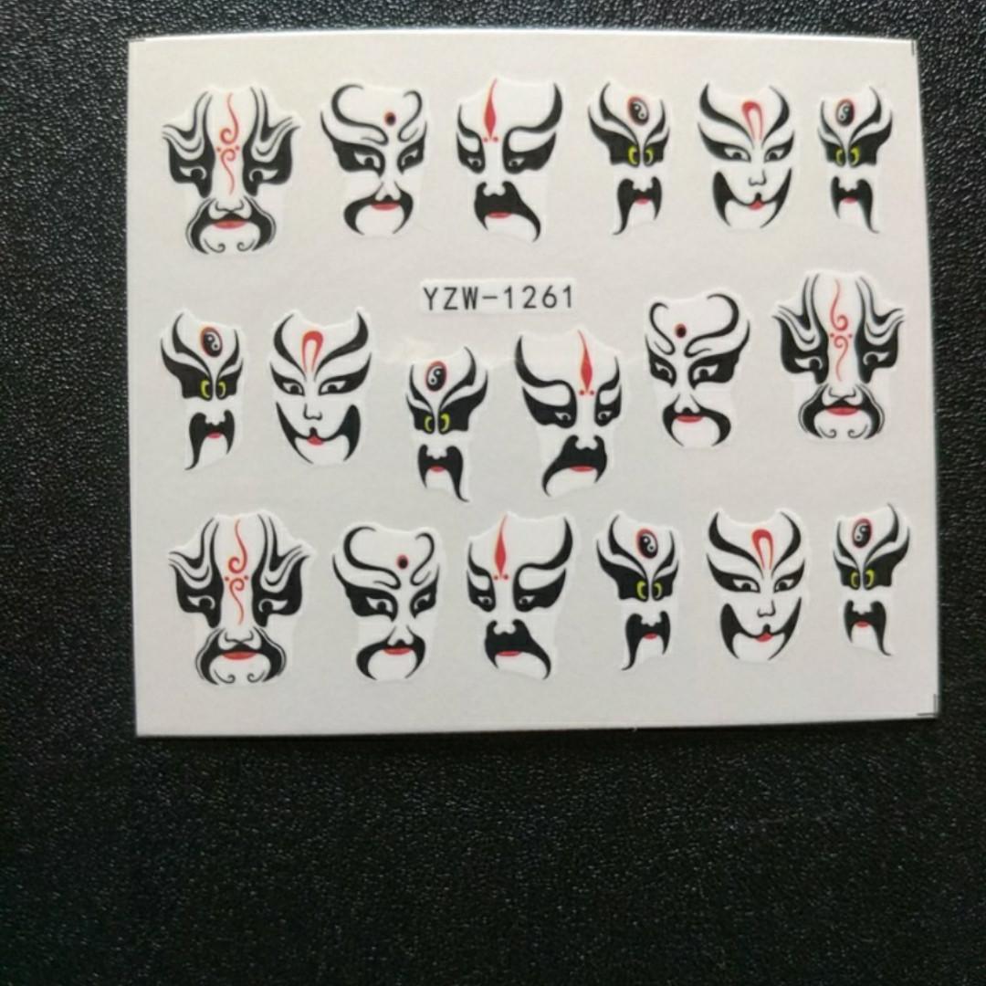 """Наклейка на ногти, наклейка для ногтей, ногтевой дизайн """"лица маски"""" 20 шт набор"""