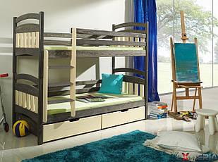 Двоярусне ліжко «Деонис» з ящиками і бортиками