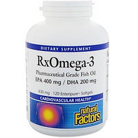 Омега-3, рыбий жир концентрат, Natural Factors (400EPA/200DHA, 120 капсул)