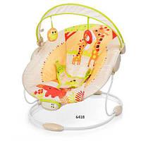 Шезлонг качалка детский 6418 музыка, вибро, 2 положения, дуга с подвесками, Бежевый