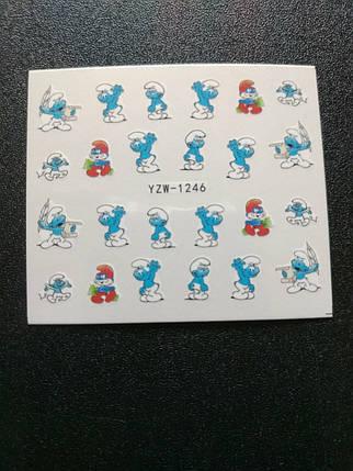 """Наклейка на ногти, наклейка для ногтей, ногтевой дизайн """"смурфики"""" 20 шт набор, фото 2"""
