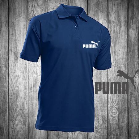 Футболка, поло, тенниска PUMA, ПУМА,темно-синяя, реплика, летняя спорт