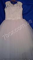Детское нарядное платье бальное Роскошь (белое) Возраст 8-10 лет.