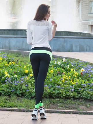 Спортивные лосины Issa Plus 529 черный с салатовым, фото 2